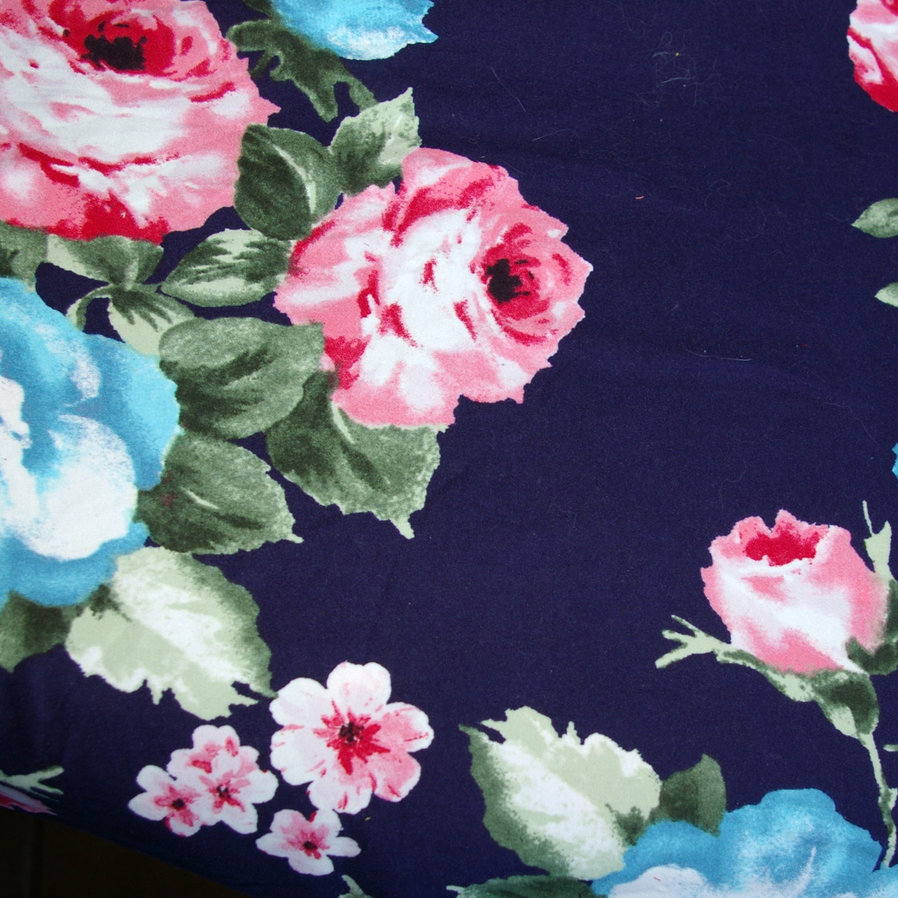 Navy With Pink And Blue Flowers Double Brushed Poly Simply By Ti